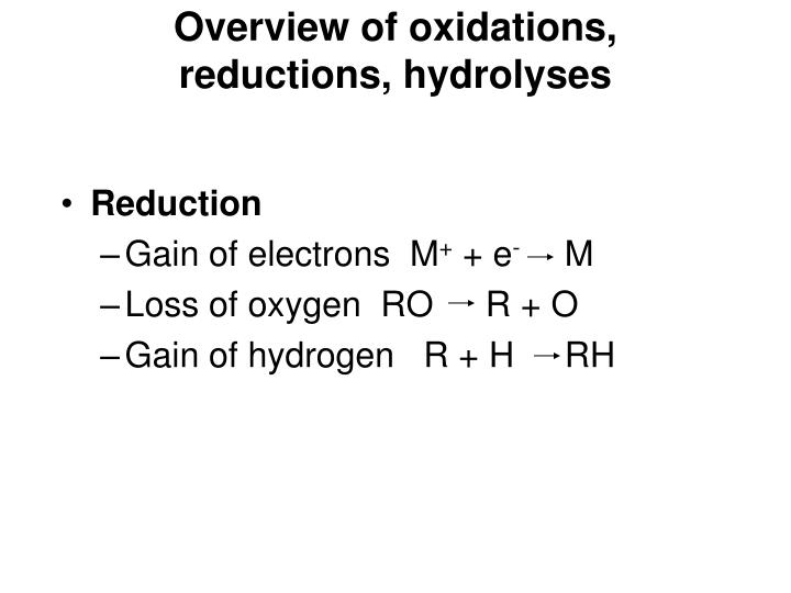 Overview of oxidations, reductions, hydrolyses