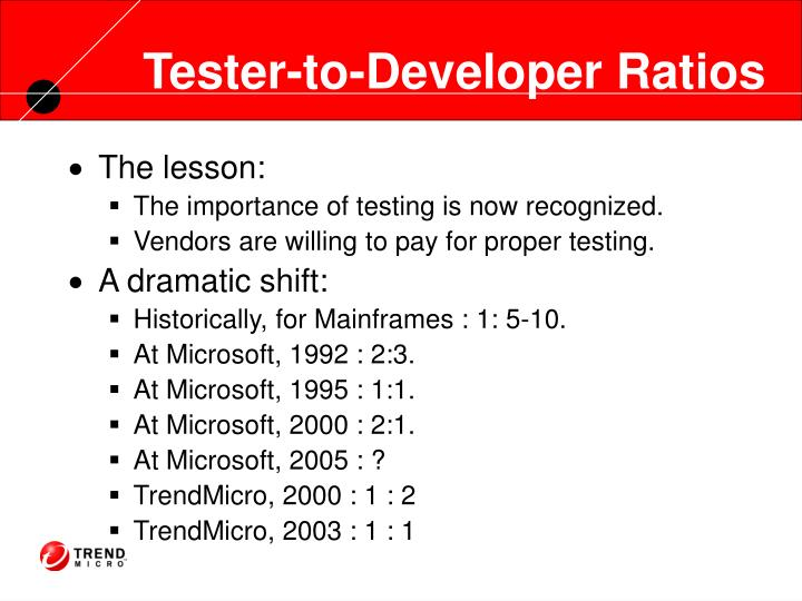 Tester-to-Developer Ratios