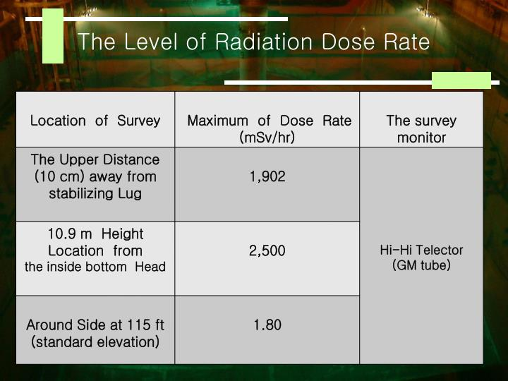 The Level of Radiation Dose Rate