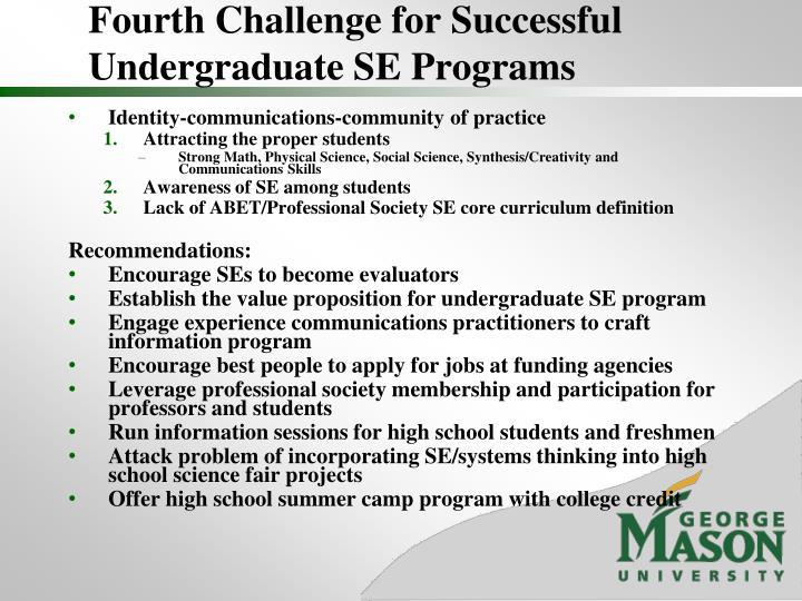 Fourth Challenge for Successful Undergraduate SE Programs