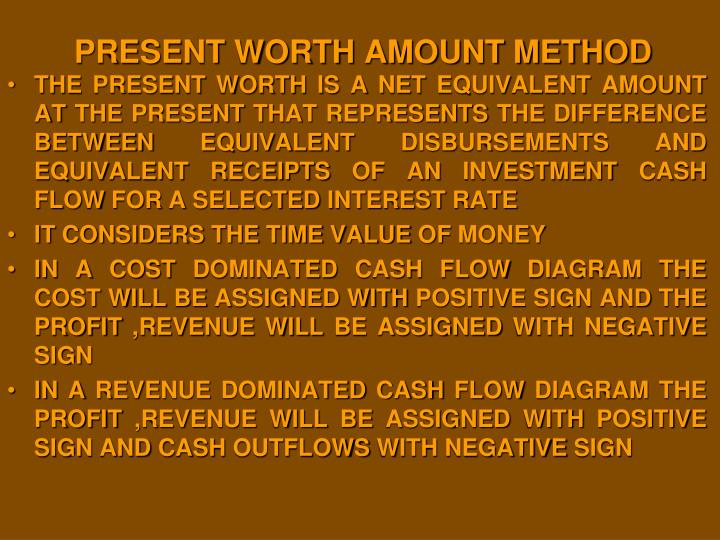 PRESENT WORTH AMOUNT METHOD