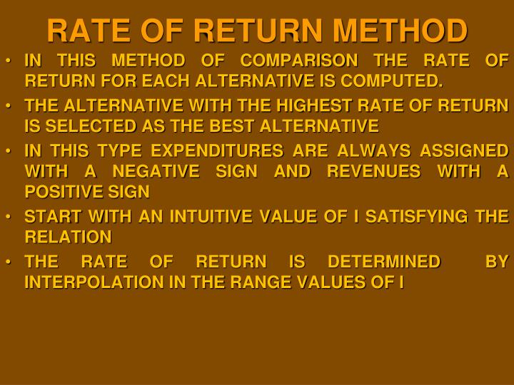 RATE OF RETURN METHOD