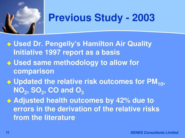 Previous Study - 2003