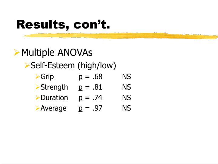 Results, con't.