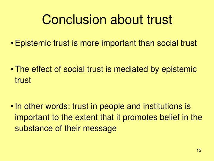 Conclusion about trust
