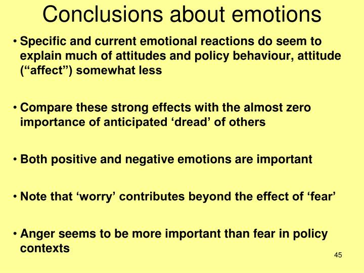Conclusions about emotions
