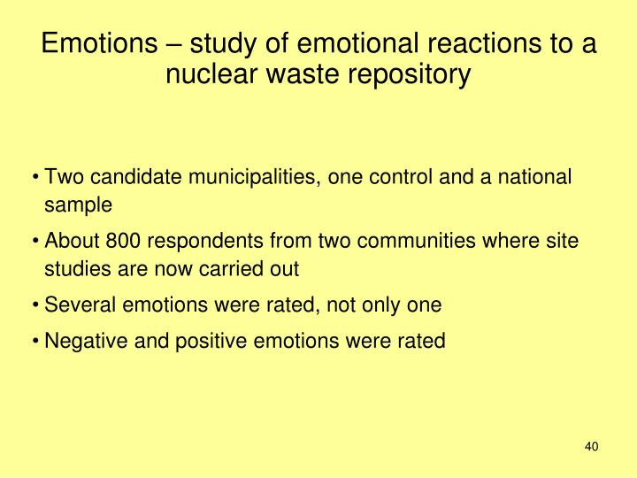 Emotions – study of emotional reactions to a nuclear waste repository