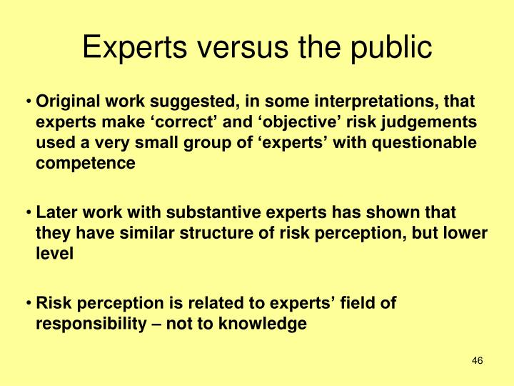 Experts versus the public