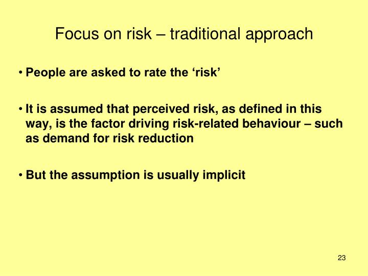 Focus on risk