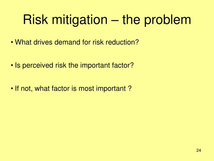 Risk mitigation – the problem