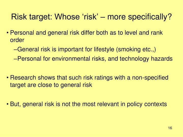 Risk target: Whose 'risk' – more specifically?