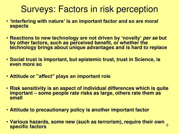 Surveys: Factors in risk perception