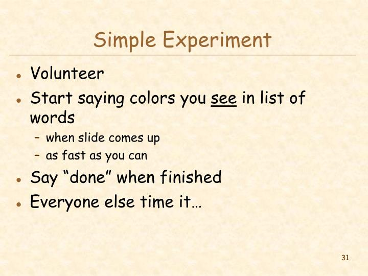 Simple Experiment
