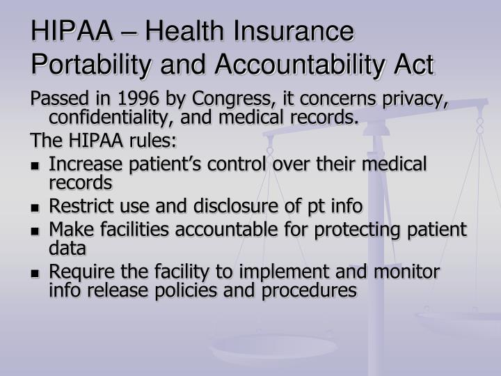 HIPAA – Health Insurance Portability and Accountability Act
