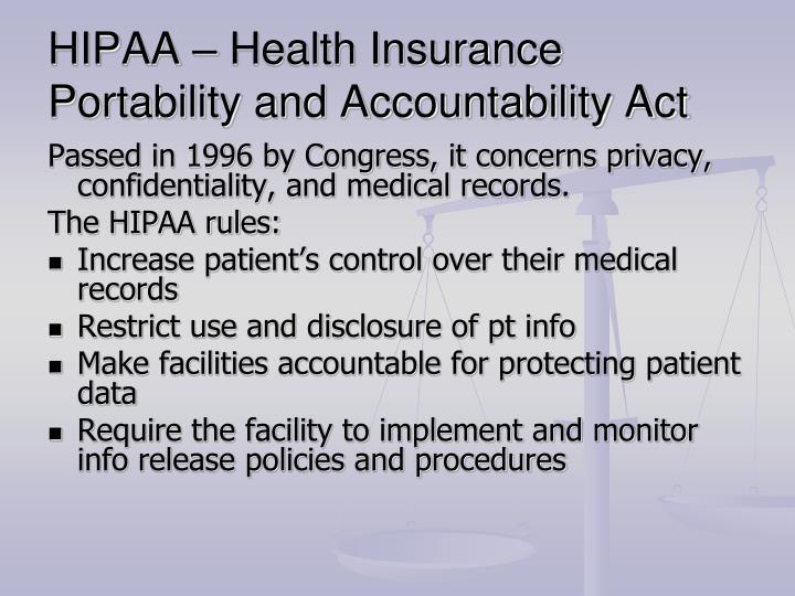 HIPAA – Health Insurance Portability and Accountability Act