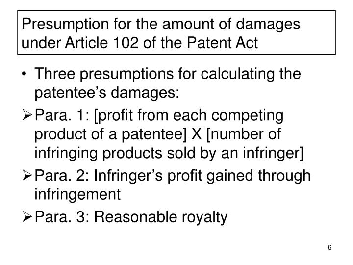 Presumption for the amount of damages under Article 102 of the Patent Act
