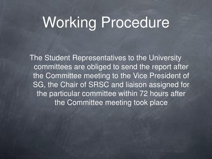 Working Procedure