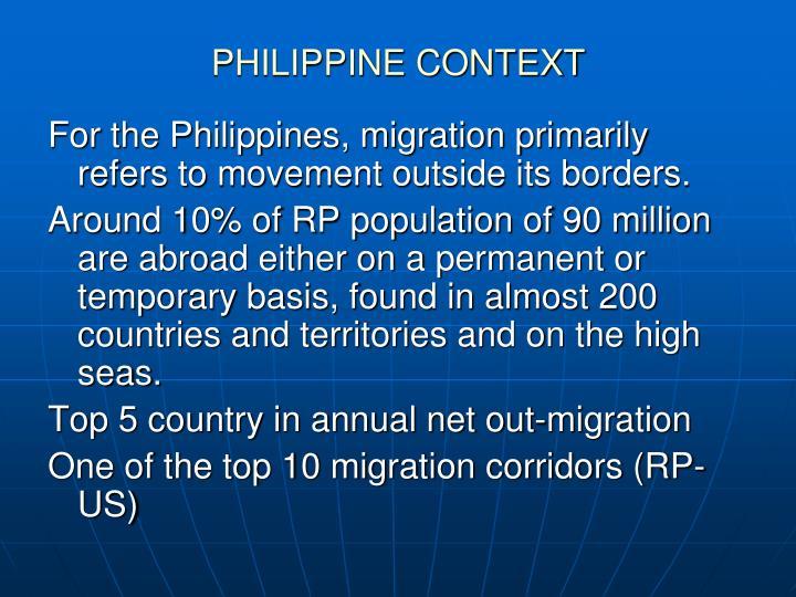 PHILIPPINE CONTEXT
