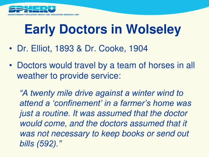 Early Doctors in Wolseley