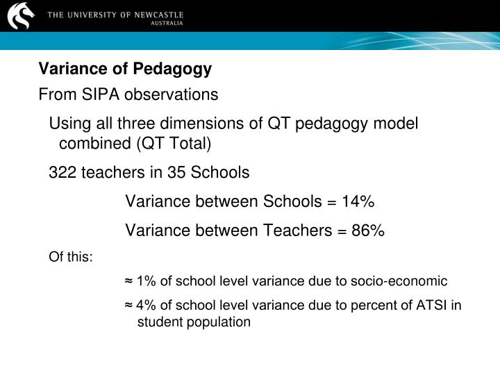 Variance of Pedagogy