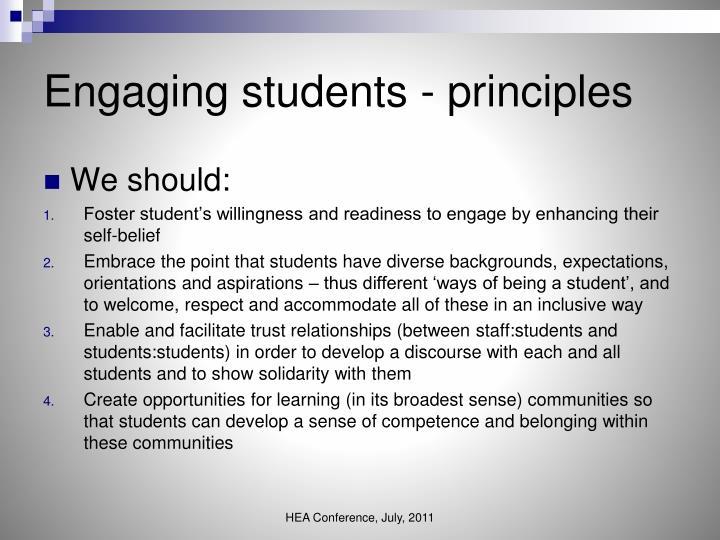 Engaging students - principles