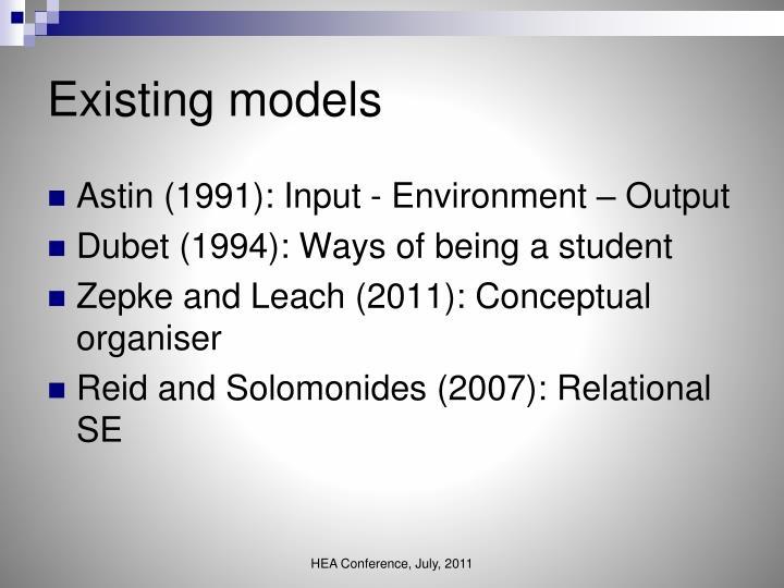 Existing models