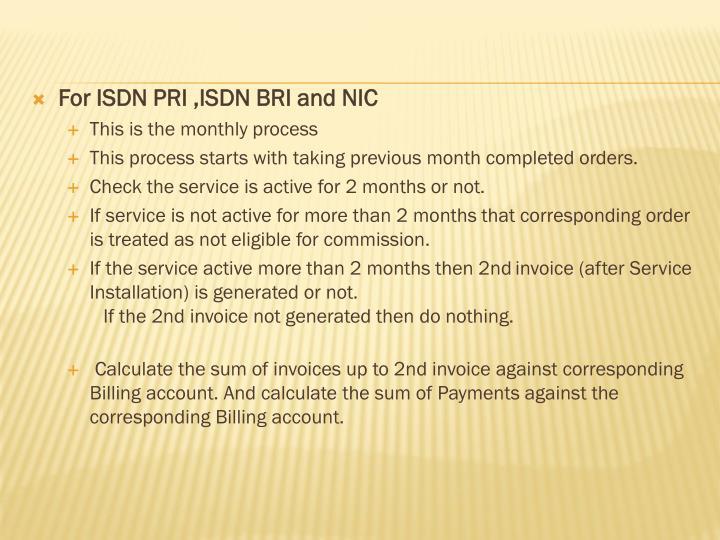 For ISDN PRI ,ISDN BRI and NIC