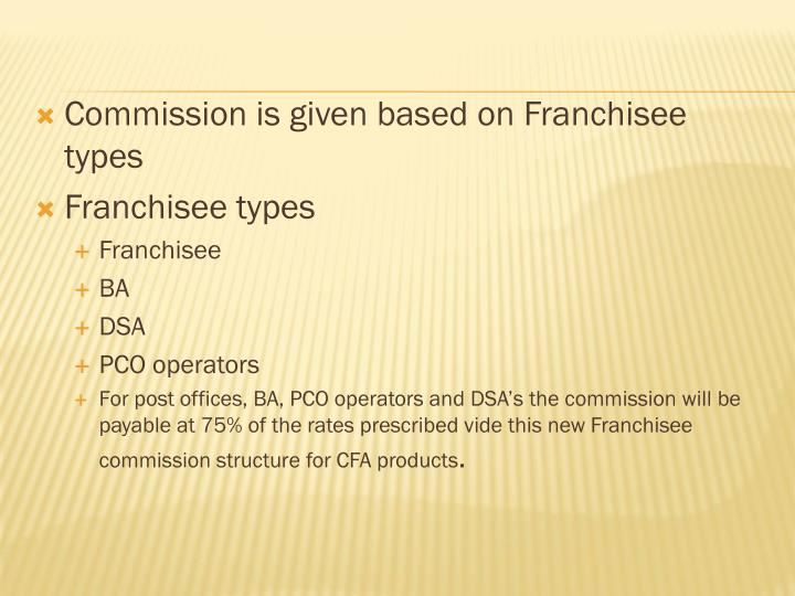 Commission is given based on Franchisee types