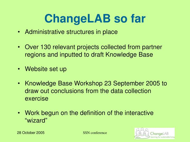 ChangeLAB so far