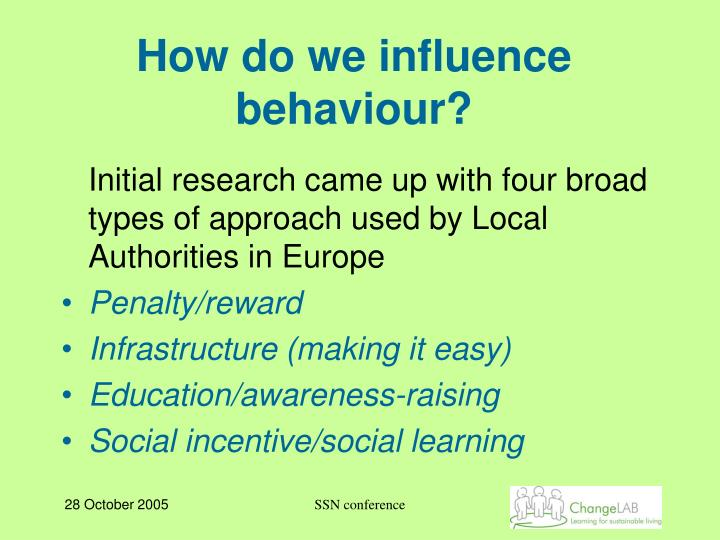 How do we influence behaviour?