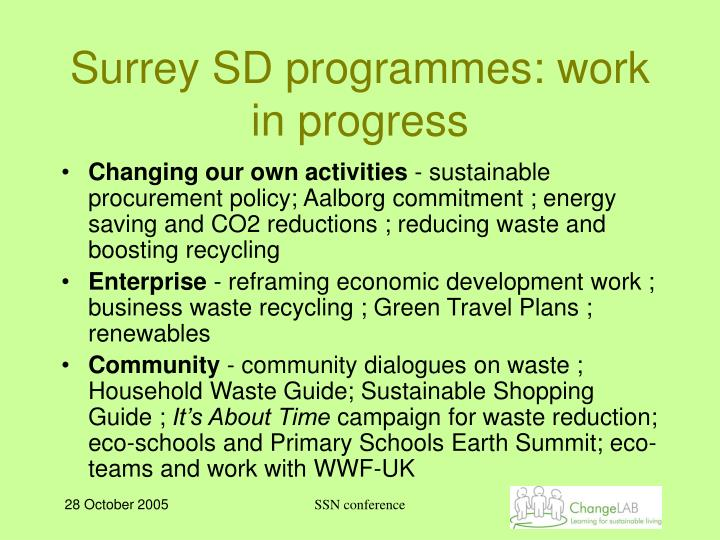 Surrey SD programmes: work in progress