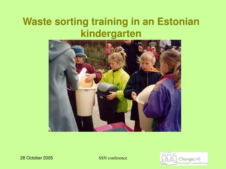 Waste sorting training in an Estonian kindergarten