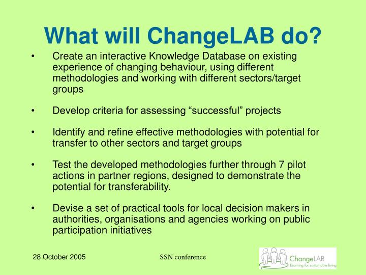 What will ChangeLAB do?