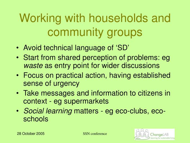 Working with households and community groups