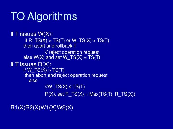 TO Algorithms