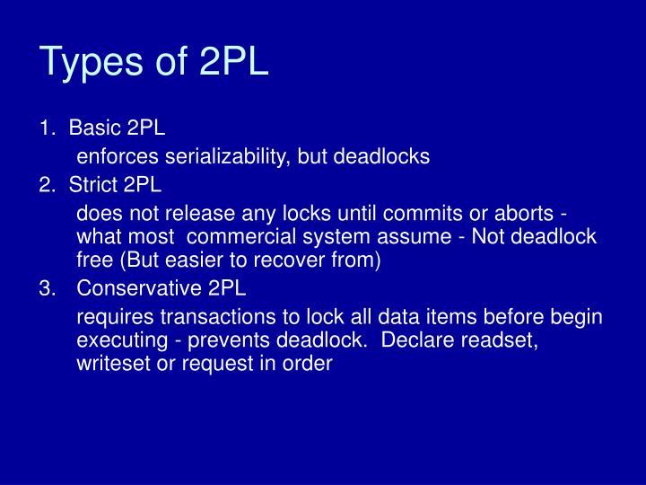 Types of 2PL