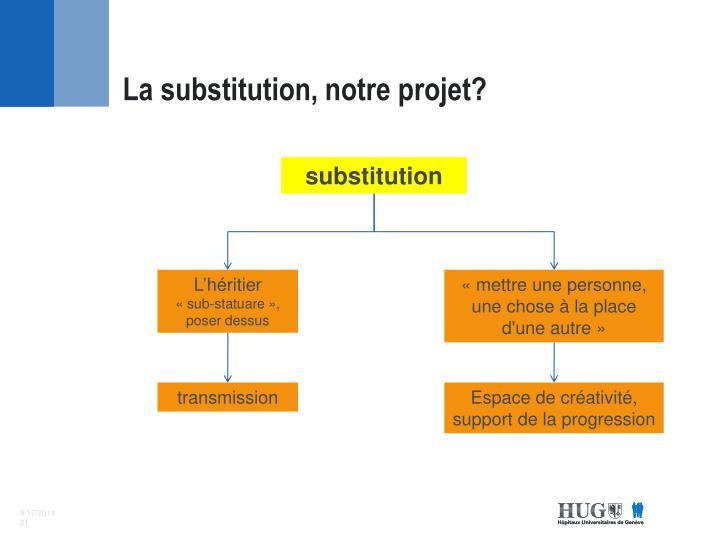 La substitution, notre projet?