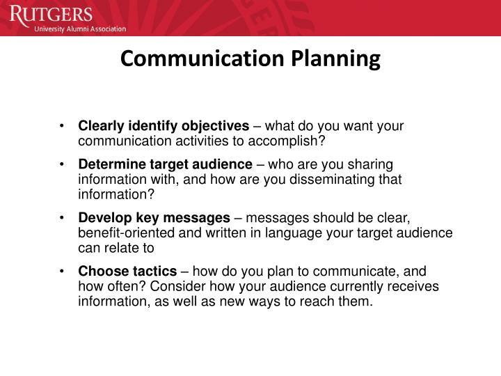 Communication Planning