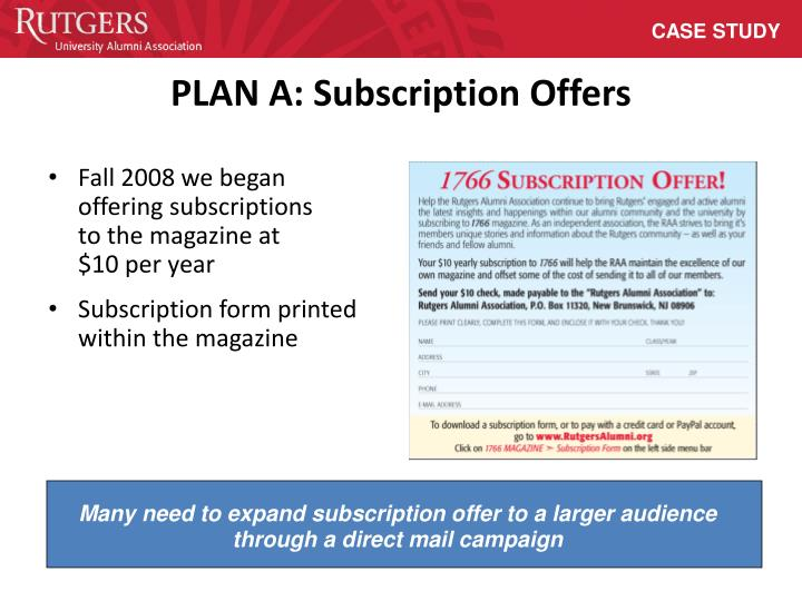 Many need to expand subscription offer to a larger audience through a direct mail campaign