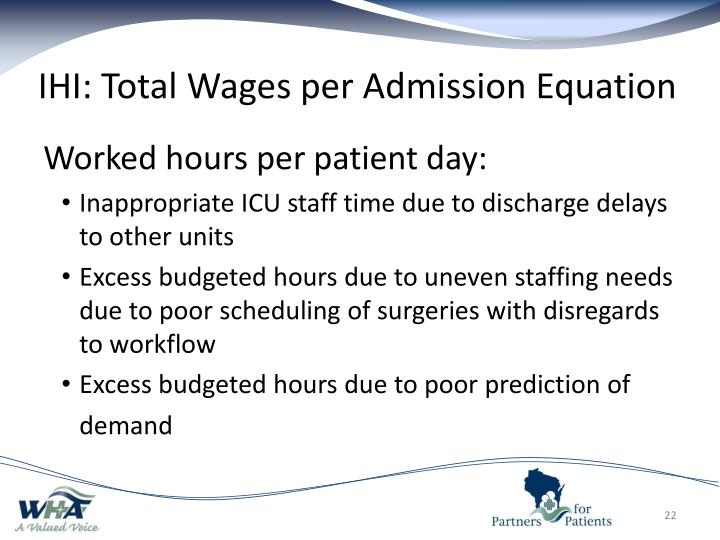 IHI: Total Wages per Admission Equation
