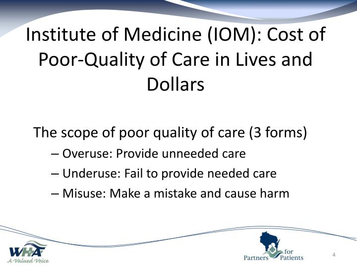 Institute of Medicine (IOM): Cost of Poor-Quality of Care in Lives and Dollars