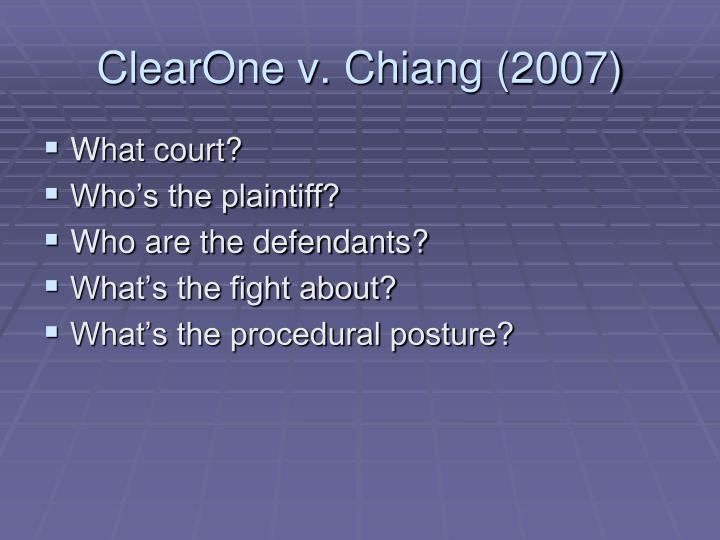 ClearOne v. Chiang (2007)