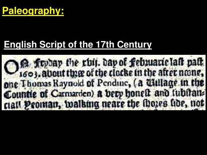 Paleography:
