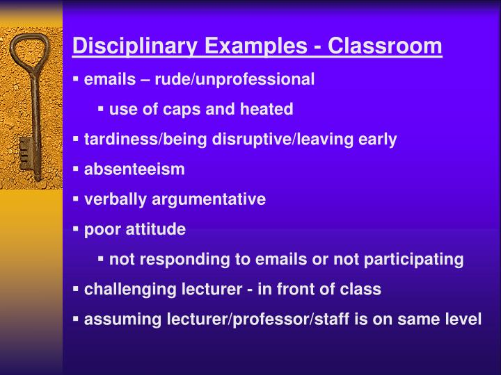 Disciplinary Examples - Classroom