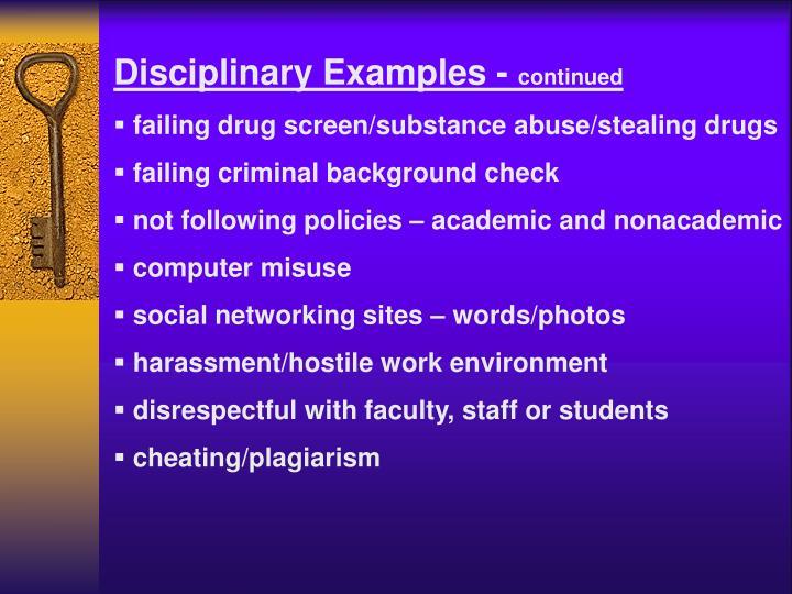 Disciplinary Examples -