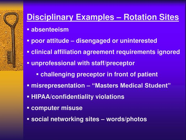 Disciplinary Examples – Rotation Sites