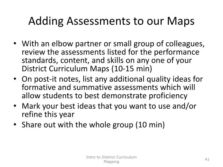 Adding Assessments to our Maps