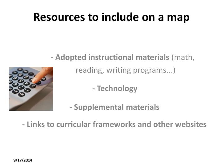 Resources to include on a map