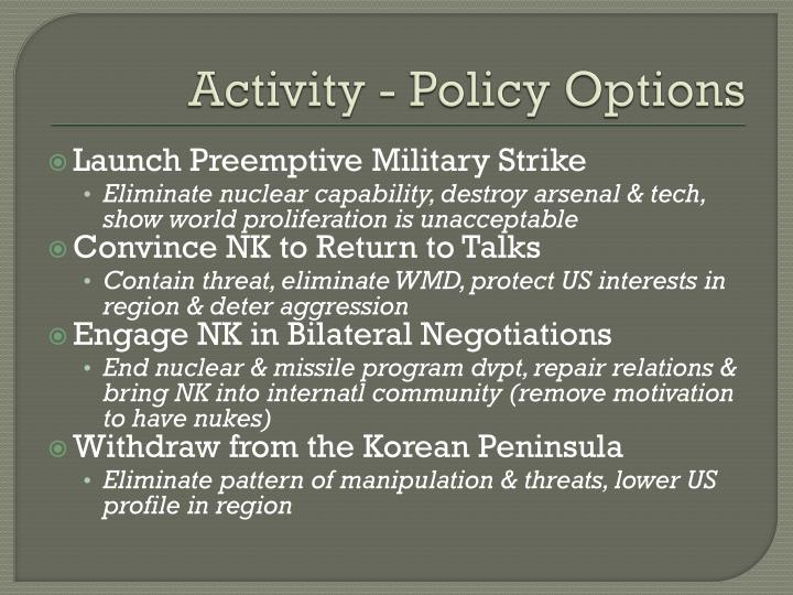 Activity - Policy Options