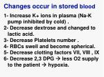 changes occur in stored blood